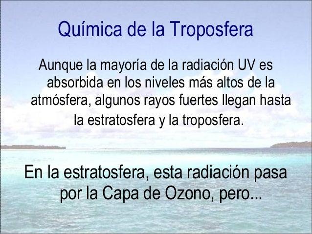 La Química de la Troposfera Cuando llueve y pasa agua por ese Smog, se forma la lluvia ácida. La lluvia ácida es aquella q...