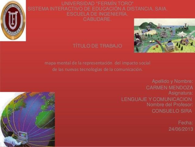 """UNIVERSIDAD """"FERMÍN TORO""""SISTEMA INTERACTIVO DE EDUCACIÓN A DISTANCIA. SAIA.ESCUELA DE INGENIERÍA.CABUDARE.TÍTULO DE TRABA..."""