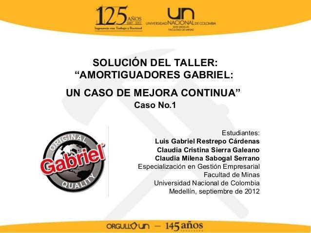 """SOLUCIÓN DEL TALLER: """"AMORTIGUADORES GABRIEL:UN CASO DE MEJORA CONTINUA""""          Caso No.1                               ..."""