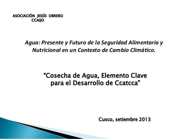 ASOCIACIÓN JESÚS OBRERO CCAIJO Cusco, setiembre 2013 Agua: Presente y Futuro de la Seguridad Alimentaria y Nutricional en ...