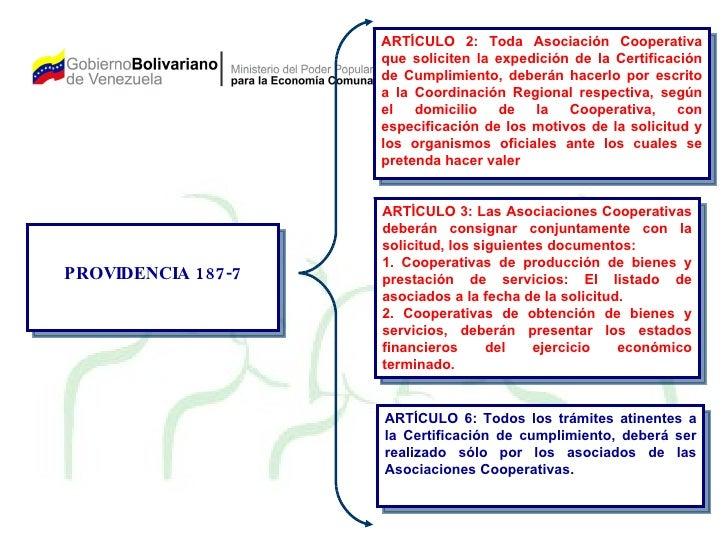 PROVIDENCIA 187-7 ARTÍCULO 2: Toda Asociación Cooperativa que soliciten la expedición de la Certificación de Cumplimiento,...