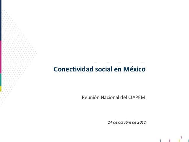 Conectividad social en México        Reunión Nacional del CIAPEM                   24 de octubre de 2012                  ...