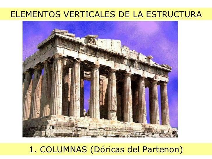 ELEMENTOS VERTICALES DE LA ESTRUCTURA 1. COLUMNAS (Dóricas del Partenon)