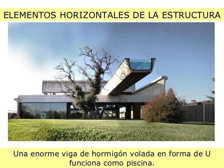 ELEMENTOS HORIZONTALES DE LA ESTRUCTURA Una enorme viga de hormigón volada en forma de U funciona como piscina.