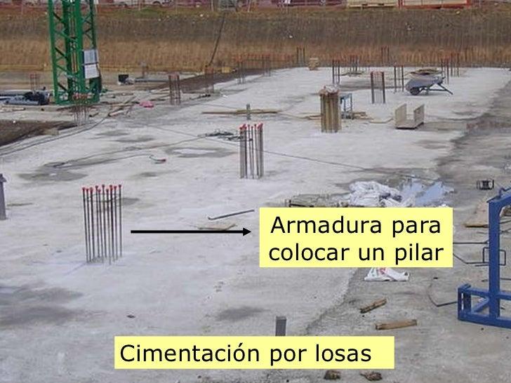 Cimentación por losas Armadura para colocar un pilar