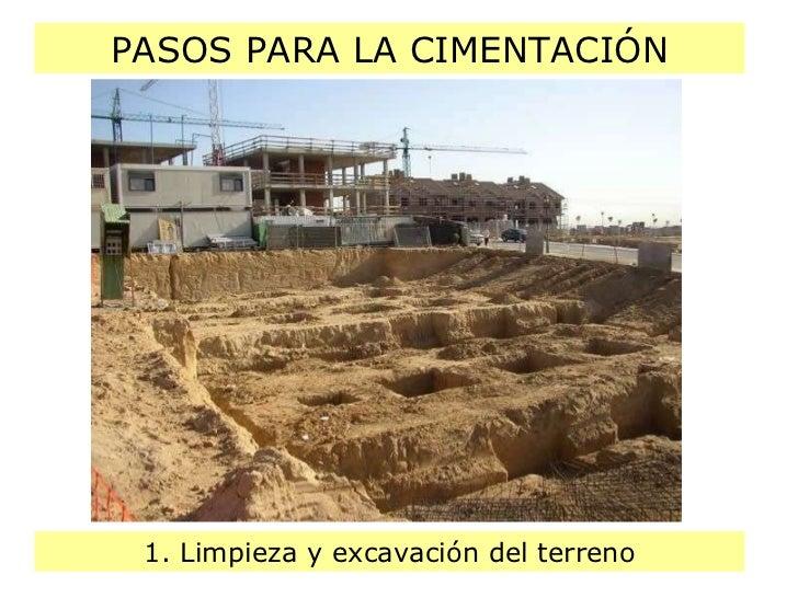 PASOS PARA LA CIMENTACIÓN 1. Limpieza y excavación del terreno