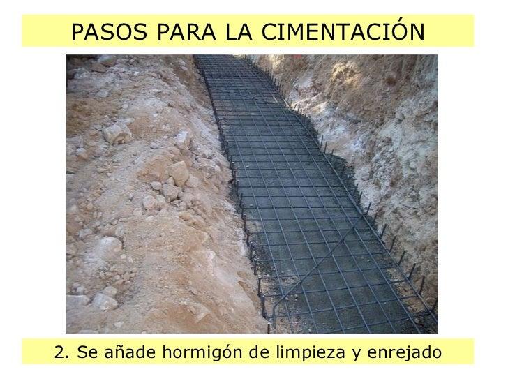PASOS PARA LA CIMENTACIÓN 2. Se añade hormigón de limpieza y enrejado