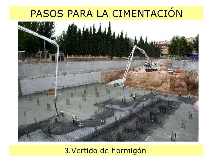 PASOS PARA LA CIMENTACIÓN 3.Vertido de hormigón