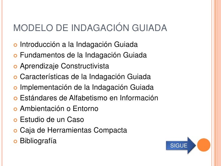MODELO DE INDAGACIÓN GUIADA Introducción a la Indagación Guiada Fundamentos de la Indagación Guiada Aprendizaje Constru...
