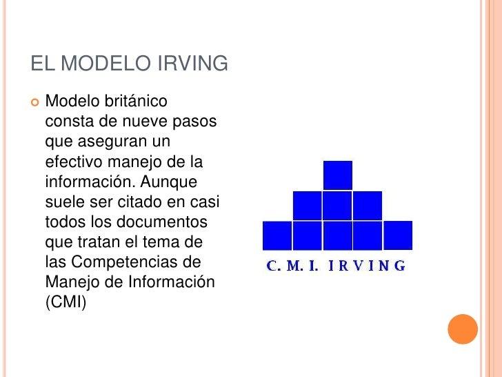 EL MODELO IRVING   Modelo británico    consta de nueve pasos    que aseguran un    efectivo manejo de la    información. ...