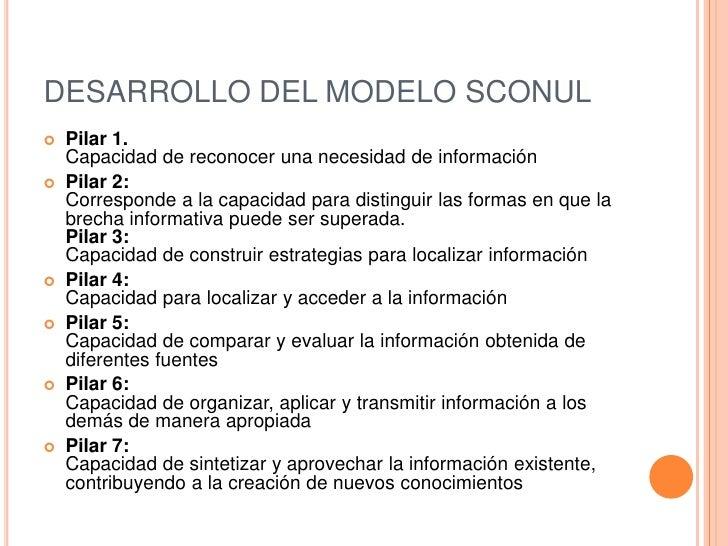 DESARROLLO DEL MODELO SCONUL   Pilar 1.    Capacidad de reconocer una necesidad de información   Pilar 2:    Corresponde...