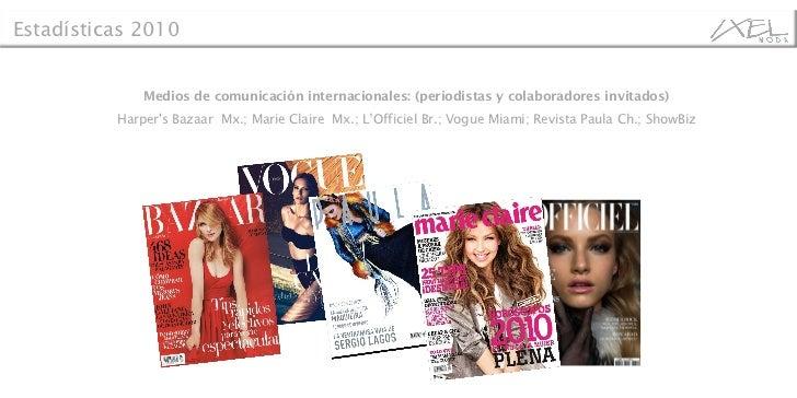 Medios de comunicación internacionales: (periodistas y colaboradores invitados) Harper's Bazaar  Mx.; Marie Claire  Mx.; L...