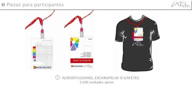 ①  ACREDITACIONES, ESCARAPELAS O GAFETES 2.500 unidades aprox. ❶  Piezas para participantes