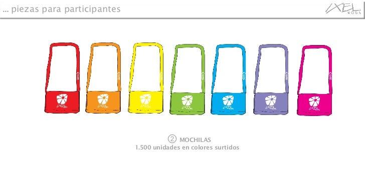 ②   MOCHILAS 1.500 unidades en colores surtidos  …  piezas para participantes