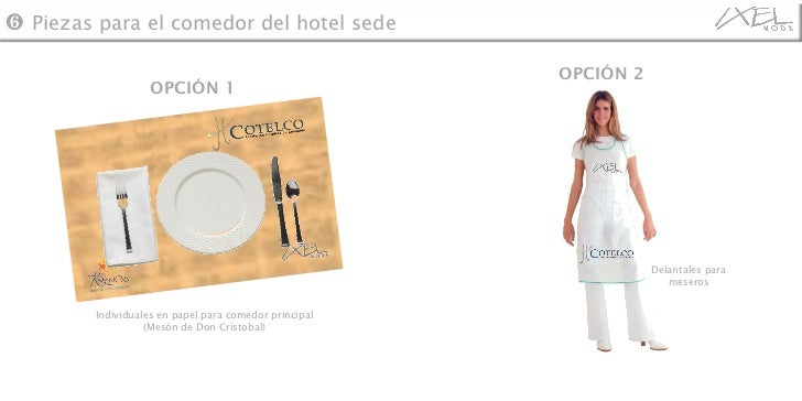 ❻   Piezas para el comedor del hotel sede Individuales en papel para comedor principal (Mesón de Don Cristobal) OPCIÓN 1 O...