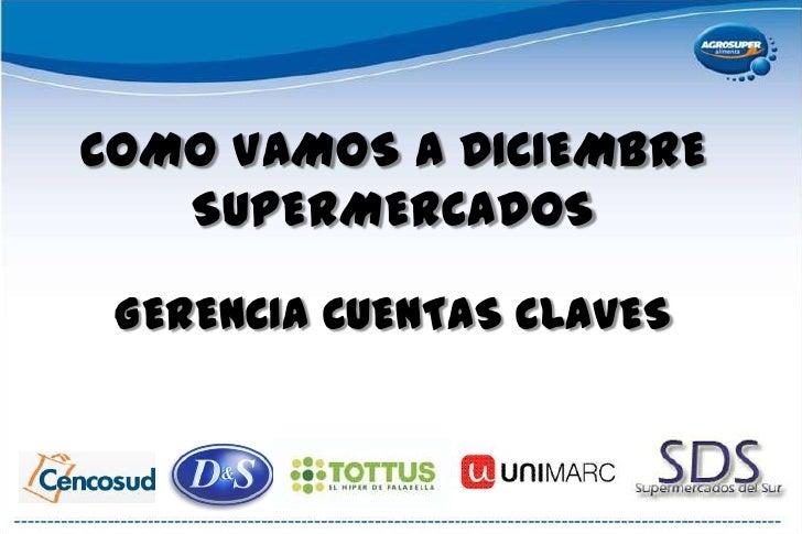 COMO VAMOS A DICIEMBRESUPERMERCADOSGERENCIA CUENTAS CLAVES<br />