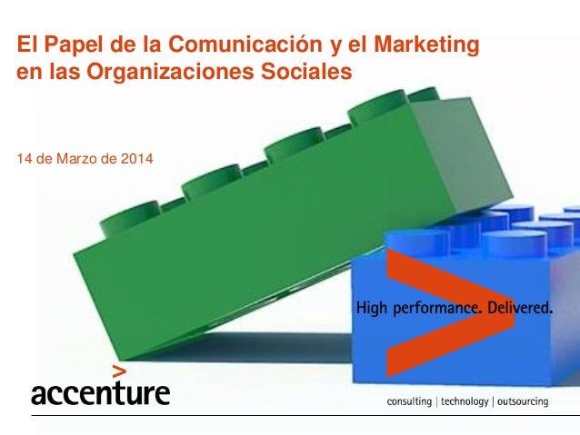 El Papel de la Comunicación y el Marketing en las Organizaciones Sociales 14 de Marzo de 2014