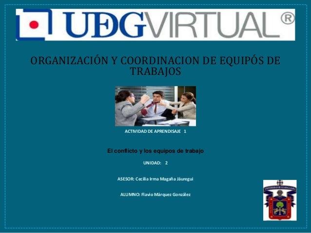 ORGANIZACIÓN Y COORDINACION DE EQUIPÓS DE TRABAJOS ACTIVIDAD DE APRENDISAJE 1 El conflicto y los equipos de trabajo UNIDAD...