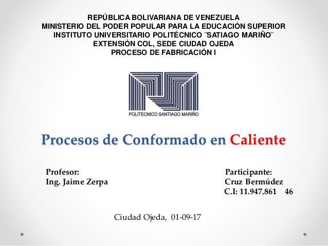 Procesos de Conformado en Caliente Profesor: Participante: Ing. Jaime Zerpa Cruz Bermúdez C.I: 11.947.861 46 Ciudad Ojeda,...