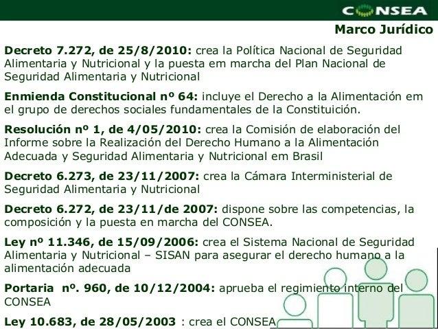 Marco Jurídico   MarcoDecreto 7.272, de 25/8/2010: crea la Política Nacional de SeguridadAlimentaria y Nutricional y la pu...