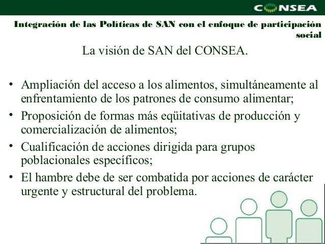 Integración de las Políticas de SAN con el enfoque de participación                                                       ...