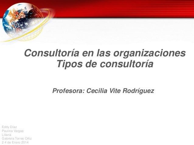 Consultoría en las organizaciones Tipos de consultoría Profesora: Cecilia Vite Rodríguez  Eddy Díaz Paulina Vargas Liliana...