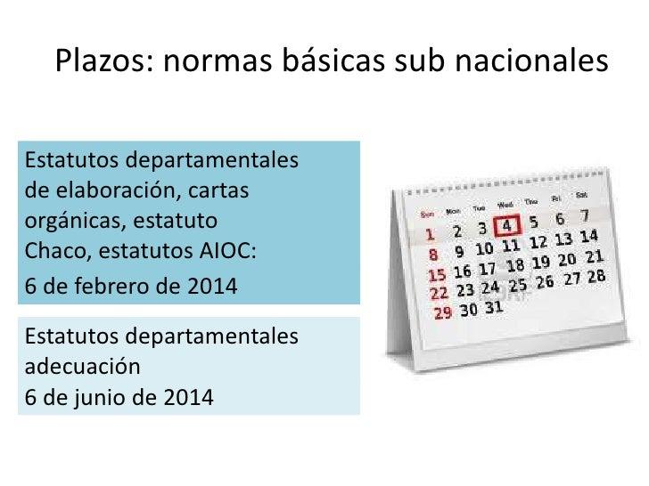 Plazos: normas básicas sub nacionalesEstatutos departamentalesde elaboración, cartasorgánicas, estatutoChaco, estatutos AI...