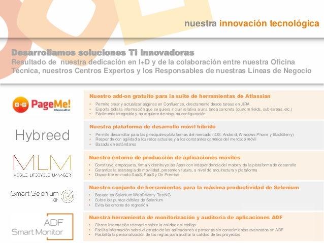 Desarrollamos soluciones TI innovadoras Resultado de nuestra dedicación en I+D y de la colaboración entre nuestra Oficina ...