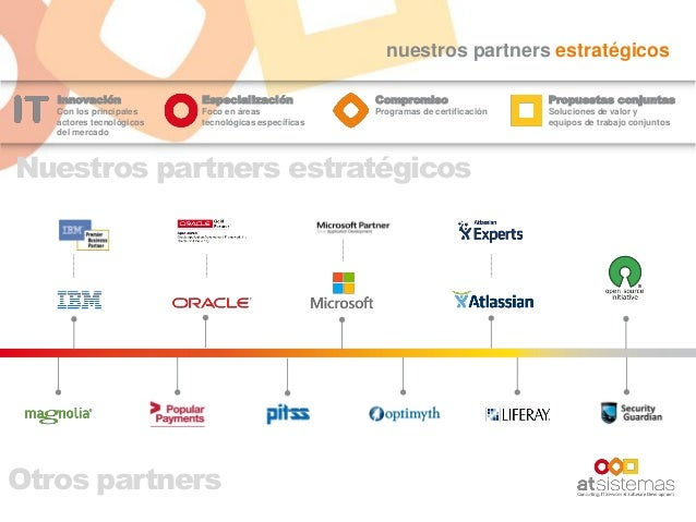 nuestros partners estratégicos Innovación Con los principales actores tecnológicos del mercado Especialización Foco en áre...
