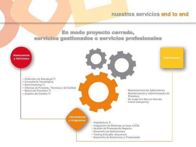 nuestros servicios end to end En modo proyecto cerrado, servicios gestionados o servicios profesionales Asesoramos y Defin...