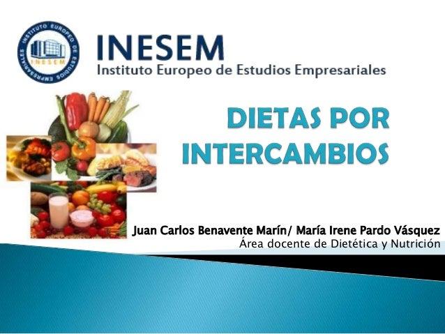 Juan Carlos Benavente Marín/ María Irene Pardo VásquezÁrea docente de Dietética y Nutrición
