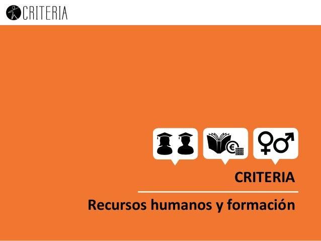 CREAMOS FUTURO… CREEMOS EN ÉL CRITERIA Recursos humanos y formación