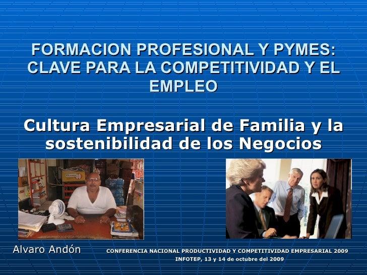 FORMACION PROFESIONAL Y PYMES: CLAVE PARA LA COMPETITIVIDAD Y EL EMPLEO Cultura Empresarial de Familia y la sostenibilidad...