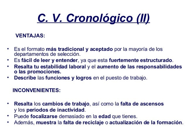 curriculum vitae cronologico inverso y funcional