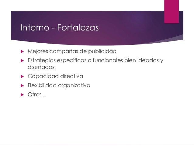 Interno - Fortalezas  Mejores campañas de publicidad  Estrategias específicas o funcionales bien ideadas y diseñadas  C...