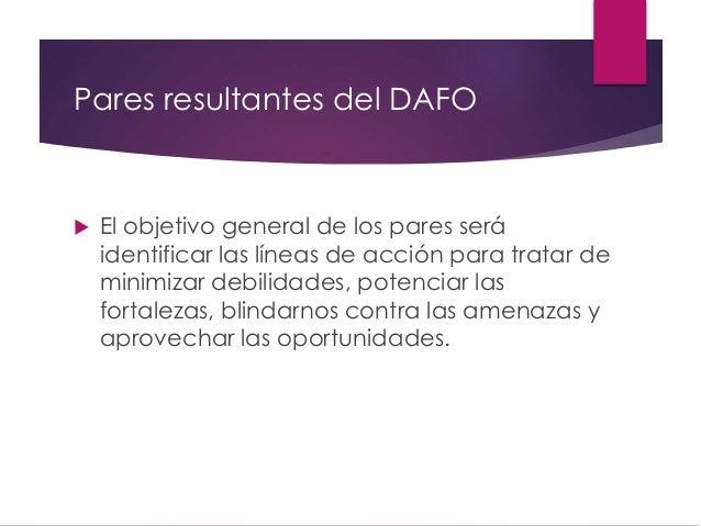 Pares resultantes del DAFO  El objetivo general de los pares será identificar las líneas de acción para tratar de minimiz...