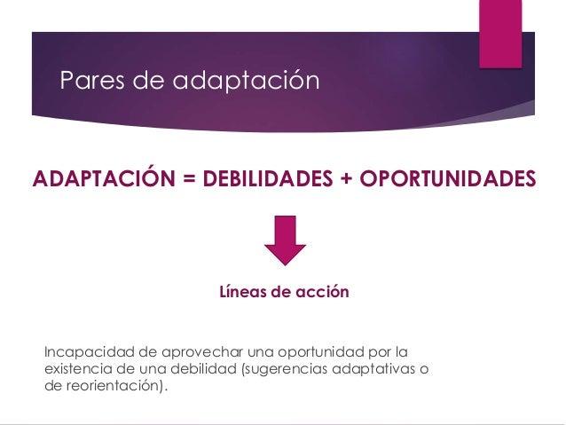 Pares de adaptación ADAPTACIÓN = DEBILIDADES + OPORTUNIDADES Líneas de acción Incapacidad de aprovechar una oportunidad po...