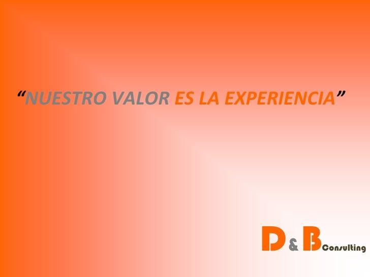 """""""NUESTRO VALOR ES LA EXPERIENCIA""""                        D&B   Consulting"""