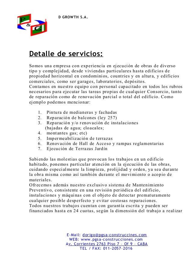 Presentaci n de construccion consorcios for Servicios de construccion