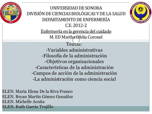 UNIVERSIDAD DE SONORA            DIVISIÓN DE CIENCIAS BIOLÓGICAS Y DE LA SALUD                    DEPARTAMENTO DE ENFERMER...