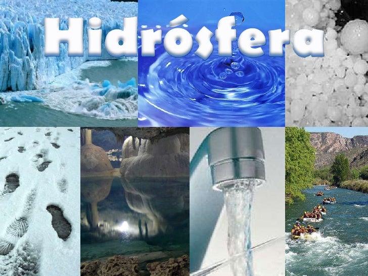 La HIDRÓSFERA esuna capa de la Tierraque está formada porla totalidad del agua     del Planeta.   HIDRO=AGUA