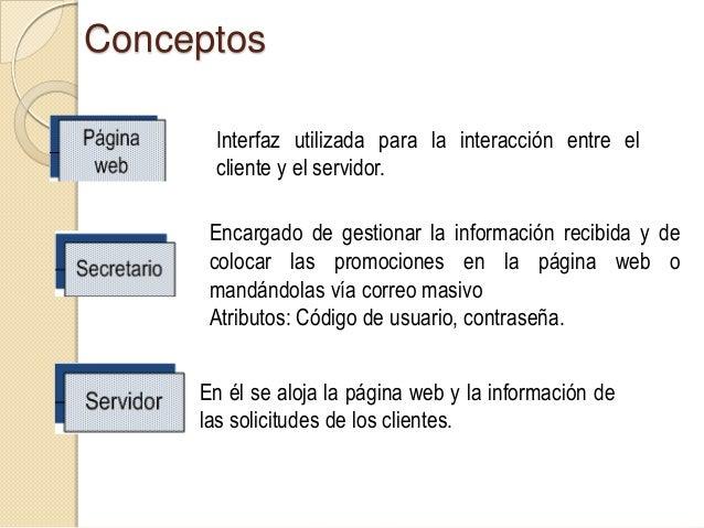 Solicitud que el cliente puede realizar en la página web.Si el usuario lo solicita, ésta es enviada al servidor yluego env...