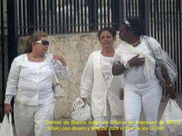 Damas de Blanco salen de Oficina de Intereses de EEUU (SINA) con dinero y folletos para el Día de los DDHH