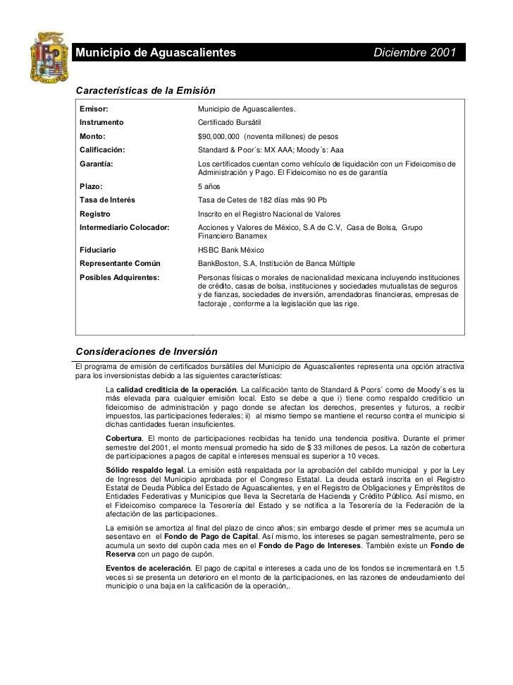 Municipio de Aguascalientes                                                              Diciembre 2001Características de ...
