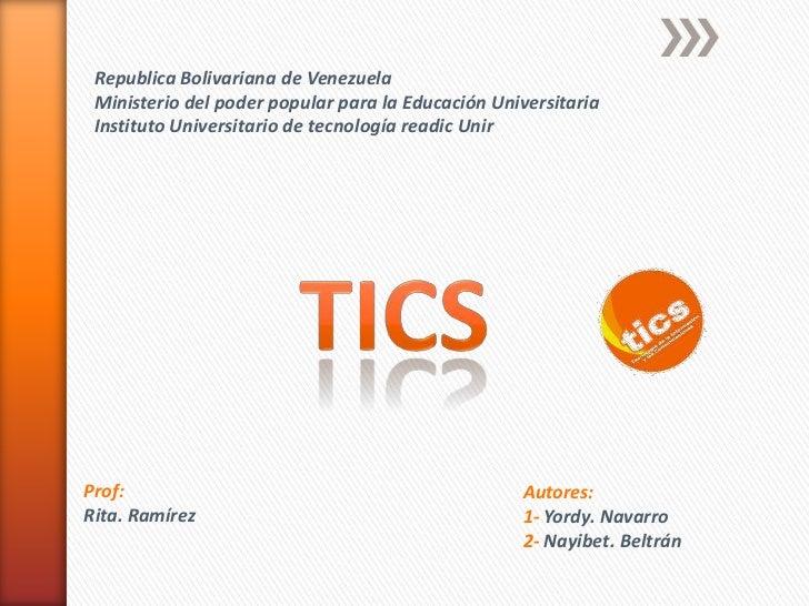 Republica Bolivariana de Venezuela Ministerio del poder popular para la Educación Universitaria Instituto Universitario de...