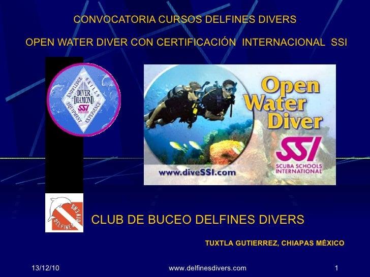 CONVOCATORIA CURSOS DELFINES DIVERS  OPEN WATER DIVER CON CERTIFICACIÓN  INTERNACIONAL  SSI 13/12/10 www.delfinesdivers.co...