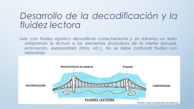 Desarrollo de la decodificación y la fluidez lectora Leer con fluidez significa decodificar correctamente y sin esfuerzo u...
