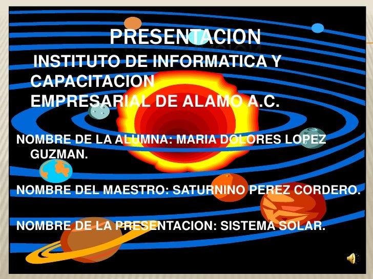 presentacion<br />INSTITUTO DE INFORMATICA Y CAPACITACION                               EMPRESARIAL DE ALAMO A.C.<br />NOM...