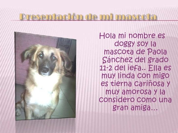Presentación de mi mascota<br />Hola mi nombre es doggy soy la mascota de Paola Sánchez del grado 11-2 del iefa.. Ella es ...