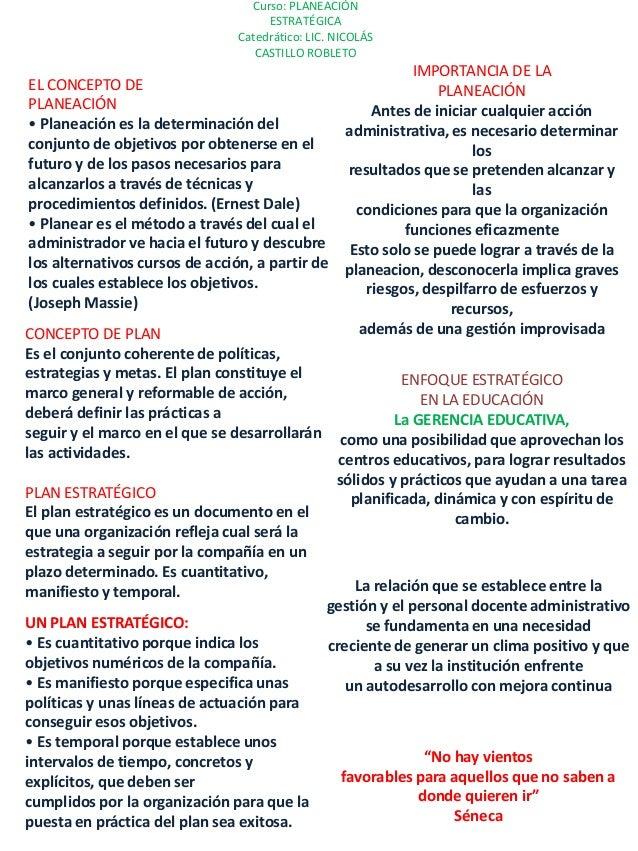 Curso: PLANEACIÓN ESTRATÉGICA Catedrático: LIC. NICOLÁS CASTILLO ROBLETO EL CONCEPTO DE PLANEACIÓN • Planeación es la dete...